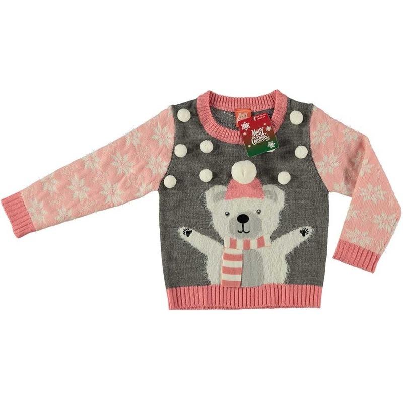 Kersttrui Meiden.Grijze Kersttrui Ijsbeer Voor Kinderen Grijze Foute Kersttrui Met