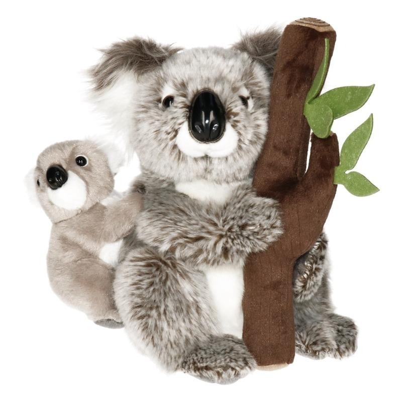 af81787cbf9114 Knuffel koala met baby en boomstam 25 cm. Luxe kwaliteit pluche ...