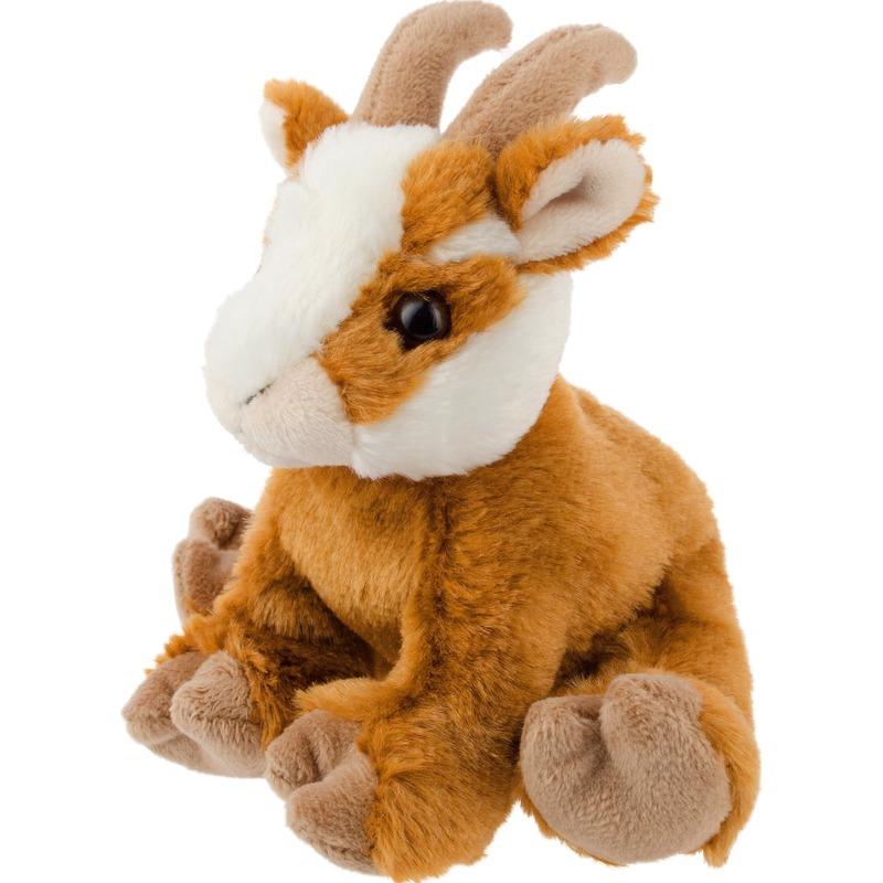 f7b3102b196f78 Pluche bruine geit knuffel 13 cm speelgoed. Bruin/wit knuffel geitje ...