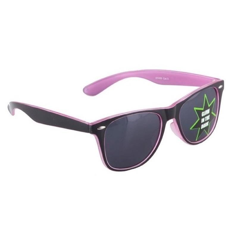 5737cb5fa4f190 Roze glow in the dark zonnebril. Glow in the dark zonnebril voor ...